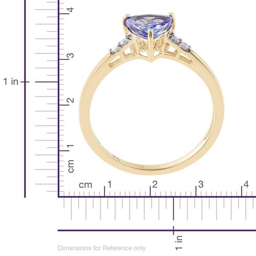 9K Yellow Gold 1.25 Ct AA Tanzanite and Diamond Ring