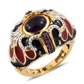 GP Amethyst (Ovl 2.75 Ct), Rhodolite Garnet, Kanchanaburi Blue Sapphire and Natural Cambodian Zircon Ring in 14K Gold Overlay Sterling Silver 3.250 Ct. Silver wt 13.85 Gms.