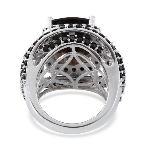 Brazilian Smoky Quartz (Cush 4.00 Ct), Boi Ploi Black Spinel Ring in Platinum Overlay Sterling Silver 8.000 Ct.