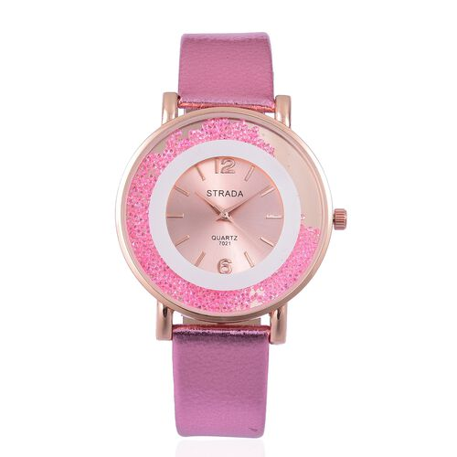 STRADA Japanese Movement Sunshine Dial with Pink Austrian Crystal Watch in Rose Gold Tone with Pink Colour Strap