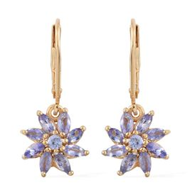Tanzanite (Mrq) Lever Back Earrings in 14K Gold Overlay Sterling Silver 1.250 Ct.