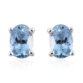 Espirito Santo Aquamarine 0.75 Ct Silver Stud Earrings (with Push Back) in Platinum Overlay