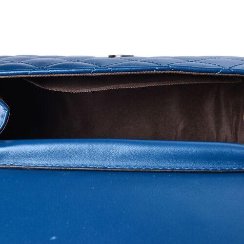 Nano Royal Blue Quilted Shoulder Bag (Size 20x15x8 Cm)