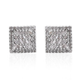 Diamond (Bgt) Square Stud Earrings (with Push Back) in Platinum Overlay Sterling Silver 0.500 Ct.