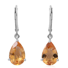 Citrine (Pear) Lever Back Earrings in Rhodium Plated Sterling Silver 4.820 Ct.
