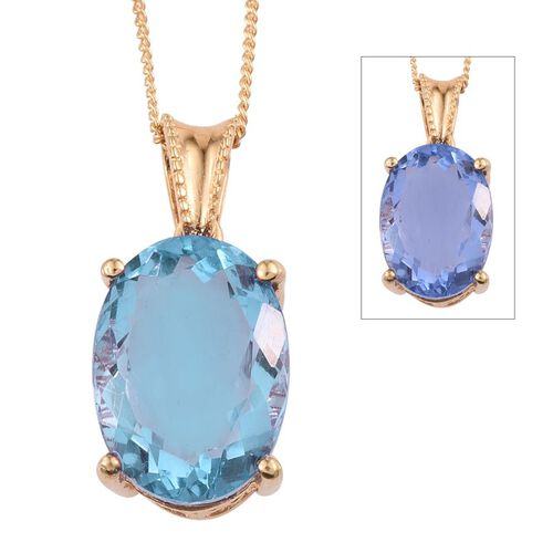 Colour Change Fluorite (Ovl) Solitaire Pendant With Chain in 14K Gold Overlay Sterling Silver 7.250 Ct.