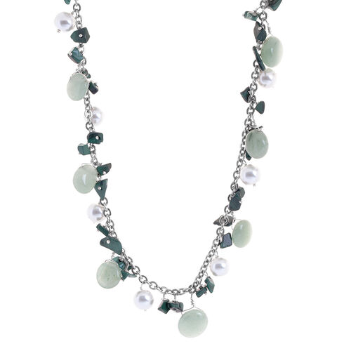 Jewels of India Glass Pearl, Malachite and Green Aquamarine Necklace (Size 20) in Silvertone 118.06 Ct.