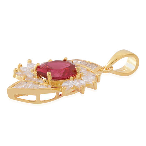 ELANZA AAA Simulated Ruby (Ovl), Simulated Diamond Pendant in 14K Gold Overlay Sterling Silver