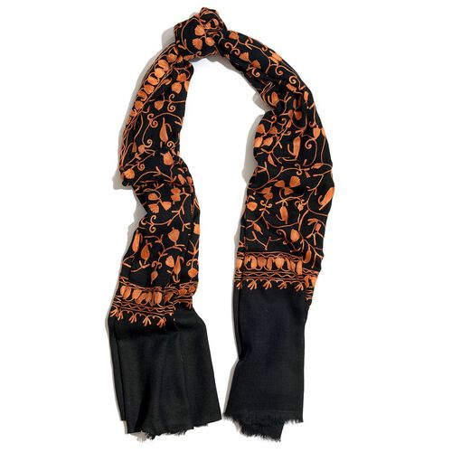 100% Merino Wool Peach Colour Embroidered Black Colour Scarf (Size 195x70 Cm)