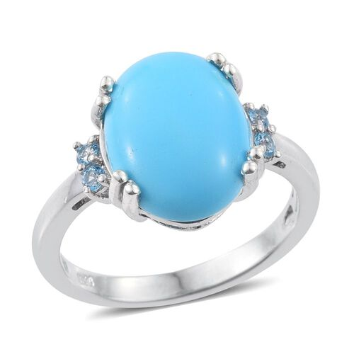 Arizona Sleeping Beauty Turquoise (Ovl 5.10 Ct), Signity Blue Topaz Ring in Platinum Overlay Sterling Silver 5.250 Ct.