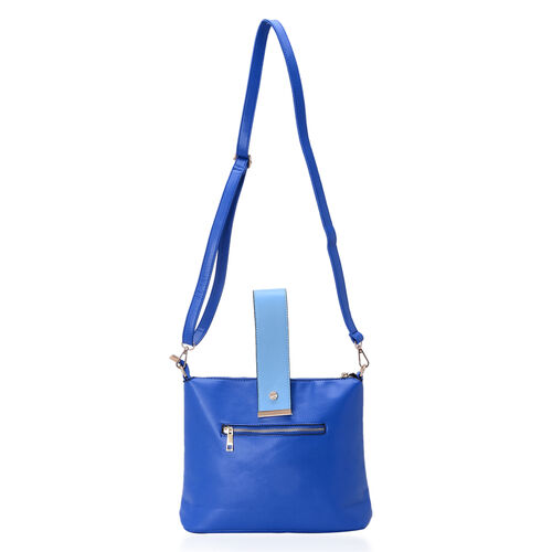 Royal and Light Blue Colour Tote Bag With External Zipper Pocket, Adjustable and Removable Shoulder Strap (Size 31x23x7.5 Cm)