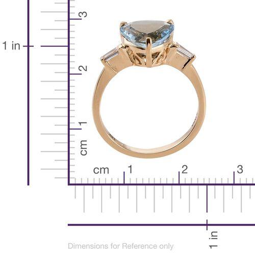 One Off-ILIANA 18K Yellow Gold 3 Carat Santa Maria Aquamarine Heart Ring With Diamond SI G-H