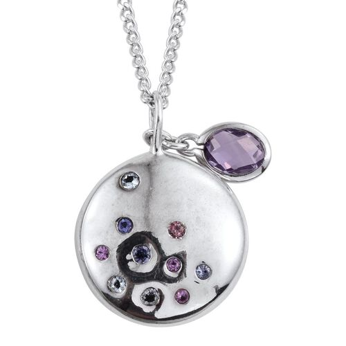 Kimberley Distant Shore Collection Rose De France Amethyst (Ovl), Tanzanite, Espirito Santo Aquamarine and Pink Sapphire Pendant With Chain in Platinum Overlay Sterling Silver 0.900 Ct.