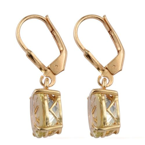 Natural Ouro Verde Quartz (Ovl) Lever Back Earrings in 14K Gold Overlay Sterling Silver 5.000 Ct.
