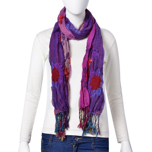 Purple, Red and Multi Colour Floral Pattern Reversible Scarf with Tassels (Size 170X30 Cm)