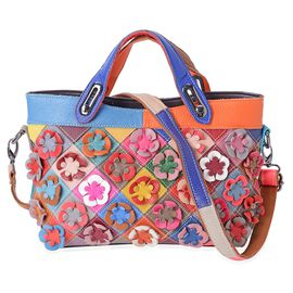 100% Genuine Leather Multi Colour 3D Flower Adorned Tote Bag with Shoulder Strap (Size 32x29.5x26x10 Cm)