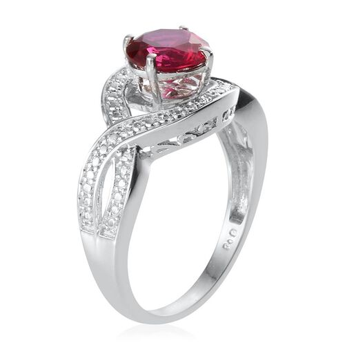 AAA Simulated Ruby (Rnd), Simulated Citrine, Simulated Diamond, Simulated Emerald, Simulated Blue Sapphire and Diamond Interchangeable Ring in ION Plated Platinum Bond