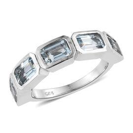 Espirito Santo Aquamarine (Oct) 5 Stone Ring in Platinum Overlay Sterling Silver 2.500 Ct.