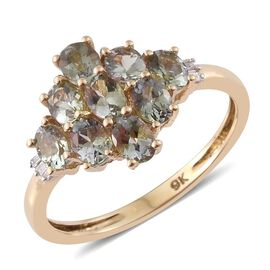 9K Yellow Gold 1.75 ct. AA Natural Green Tanzanite Ring with Diamond I4/H