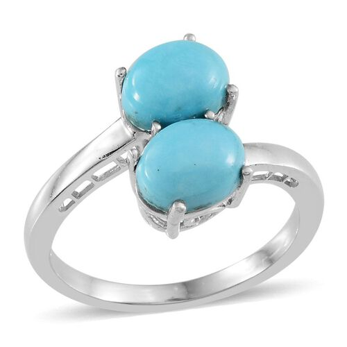Arizona Sleeping Beauty Turquoise (Ovl) Crossover Ring in Platinum Overlay Sterling Silver 2.000 Ct.