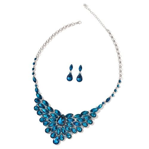 Simulated Blue Sapphire and Blue Austrian Crystal BIB Necklace (Size 22 with 4 inch Extender) and Earrings (with Push Back) in Silver Tone