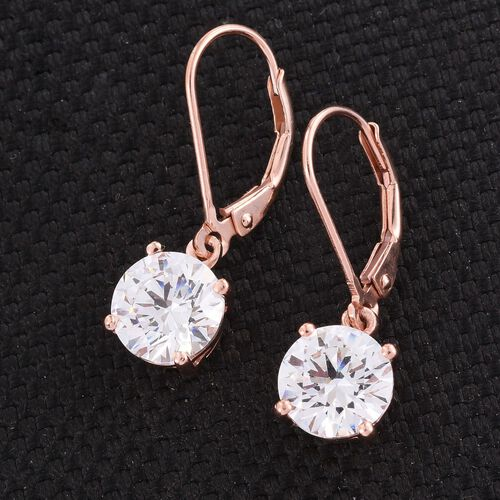 J Francis - Rose Gold Overlay Sterling Silver (Rnd) Lever Back Earrings Made with SWAROVSKI ZIRCONIA.Stone Size Round 8MM.