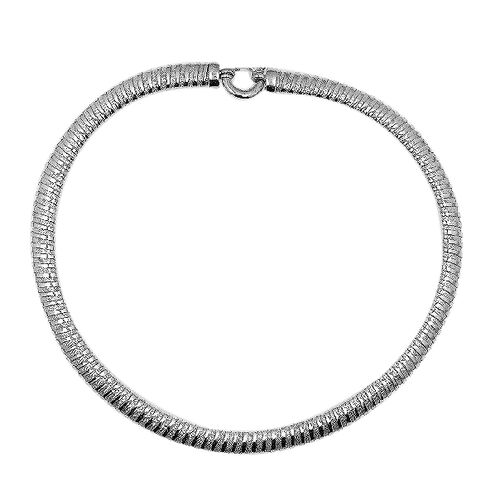 JCK VEGAS Collection Rhodium Plated Sterling Silver Tube Necklace (Size 18), Silver wt 28.93 Gms.