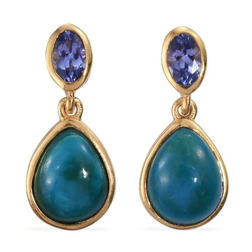 Natural Rare Opalina (Pear), Tanzanite Earrings (with Push Back) in 14K Gold Overlay Sterling Silver 3.250 Ct.
