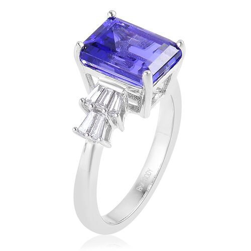 RHAPSODY 950 Platinum AAAA Tanzanite (Oct 4.00 Ct), Diamond Ring 4.500 Ct.