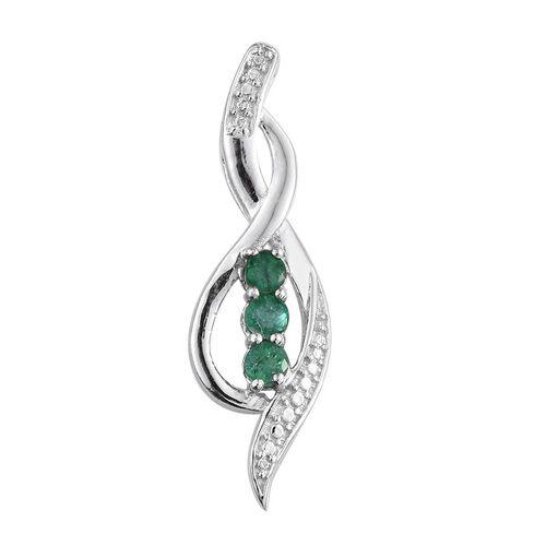 Kagem Zambian Emerald (Rnd) Trilogy Pendant in Platinum Overlay Sterling Silver 0.500 Ct.
