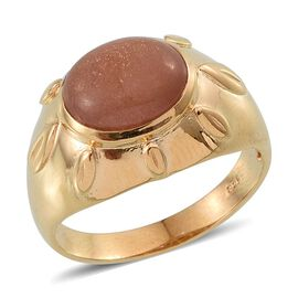 Morogoro Peach Sunstone (Ovl) Ring in 14K Gold Overlay Sterling Silver 4.750 Ct.