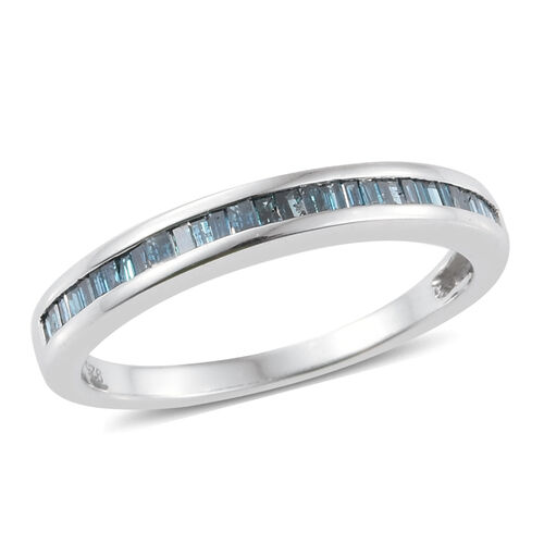 GP Blue Diamond (Bgt), Kanchanaburi Blue Sapphire Ring in Platinum Overlay Sterling Silver 0.350 Ct.