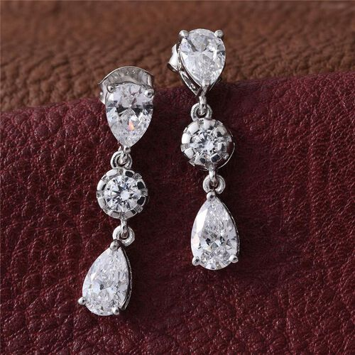 J Francis - Platinum Overlay Sterling Silver (Pear) Earrings Made with SWAROVSKI ZIRCONIA