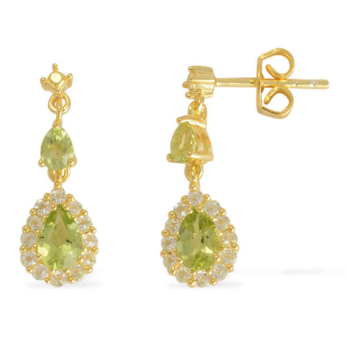 (Option 2) Hebei Peridot (Pear), White Topaz Earrings (With Push Back) in Yellow Gold Overlay Sterling Silver 1.550 Ct.