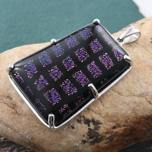 One Time Deal-Purple Camofine Dichroic Glass (Taper Bgt) Pendant in Platinum Bond