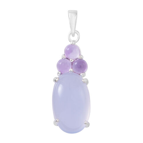 Namibian Blue Chalcedony (Ovl 6.00 Ct), Amethyst Pendant in Sterling Silver 6.500 Ct.