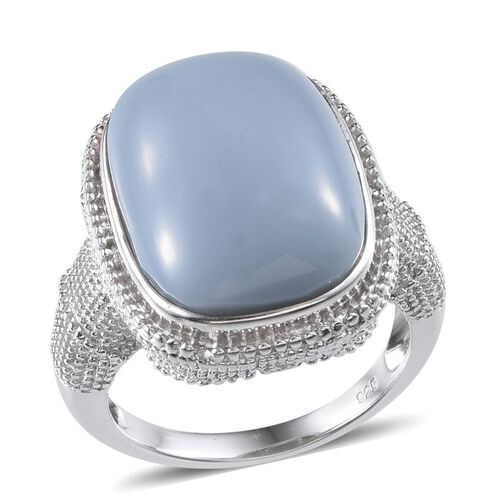 Peruvian Blue Opal (Cush) Ring in Platinum Overlay Sterling Silver 17.500 Ct.