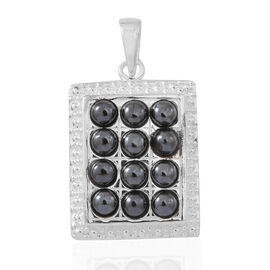 100% Natural Hematite (Rnd) Pendant in Sterling Silver 3.000 Ct.
