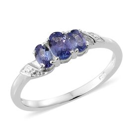 0.90 Ct Tanzanite 3 Stone Ring in Platinum Plated Silver
