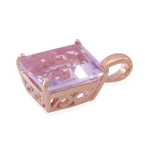 Rose De France Amethyst (Oct) Solitaire Pendant in Rose Gold Overlay Sterling Silver 5.000 Ct.
