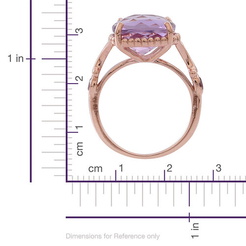 Rose De France Amethyst (Cush 6.25 Ct), Rhodolite Garnet Ring in Rose Gold Overlay Sterling Silver 6.500 Ct.