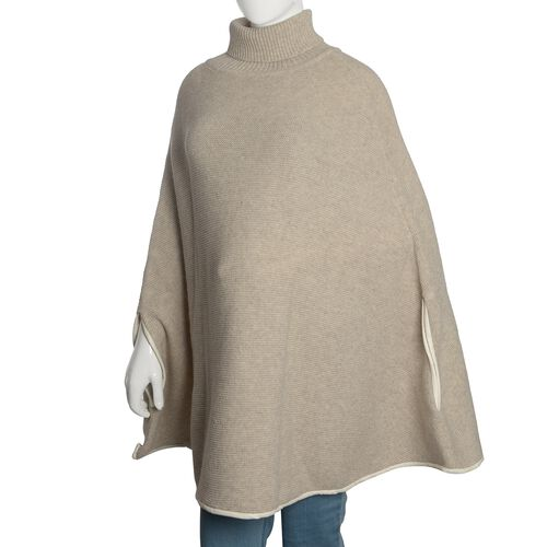 Designer Inspired - 100% Wool Cream Colour Knitted Cape Jacket (Free Size)