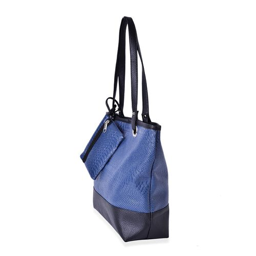 Set of 2 - Navy and Black Colour Snake Skin Pattern Handbag (Size 42x33x30x11.5 Cm) and Pouch (Size 15x12 Cm)