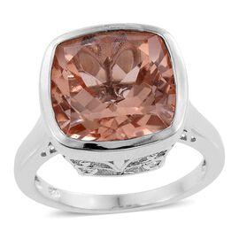 Galileia Blush Pink Quartz (Cush) Ring in Platinum Overlay Sterling Silver 11.000 Ct.