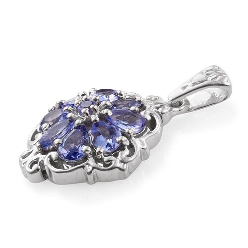 Tanzanite (Pear) Flower Pandant in Platinum Overlay Sterling Silver 1.00 Ct.