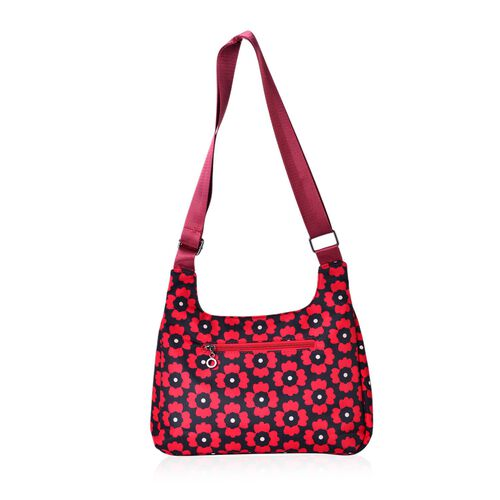 Floral Pattern Water Resistant Crossbody Bag with External Zipper Pocket (Size 28x20x7.5 Cm)