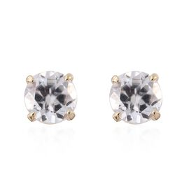 9K Y Gold Natural Cambodian Zircon (Rnd) Stud Earrings (with Push Back) 1.000 Ct.