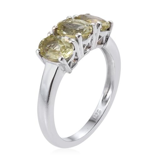 Natural Canary Apatite (Ovl) Trilogy Ring in Platinum Overlay Sterling Silver 1.750 Ct.