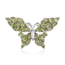 Hebei Peridot (Mrq) Butterfly Pendant in Platinum Overlay Sterling Silver 4.500 Ct.