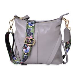 100% Genuine Leather Grey Colour Crossbody Bag with Butterfly Pattern Removable Shoulder Strap (Size 25x23x8)